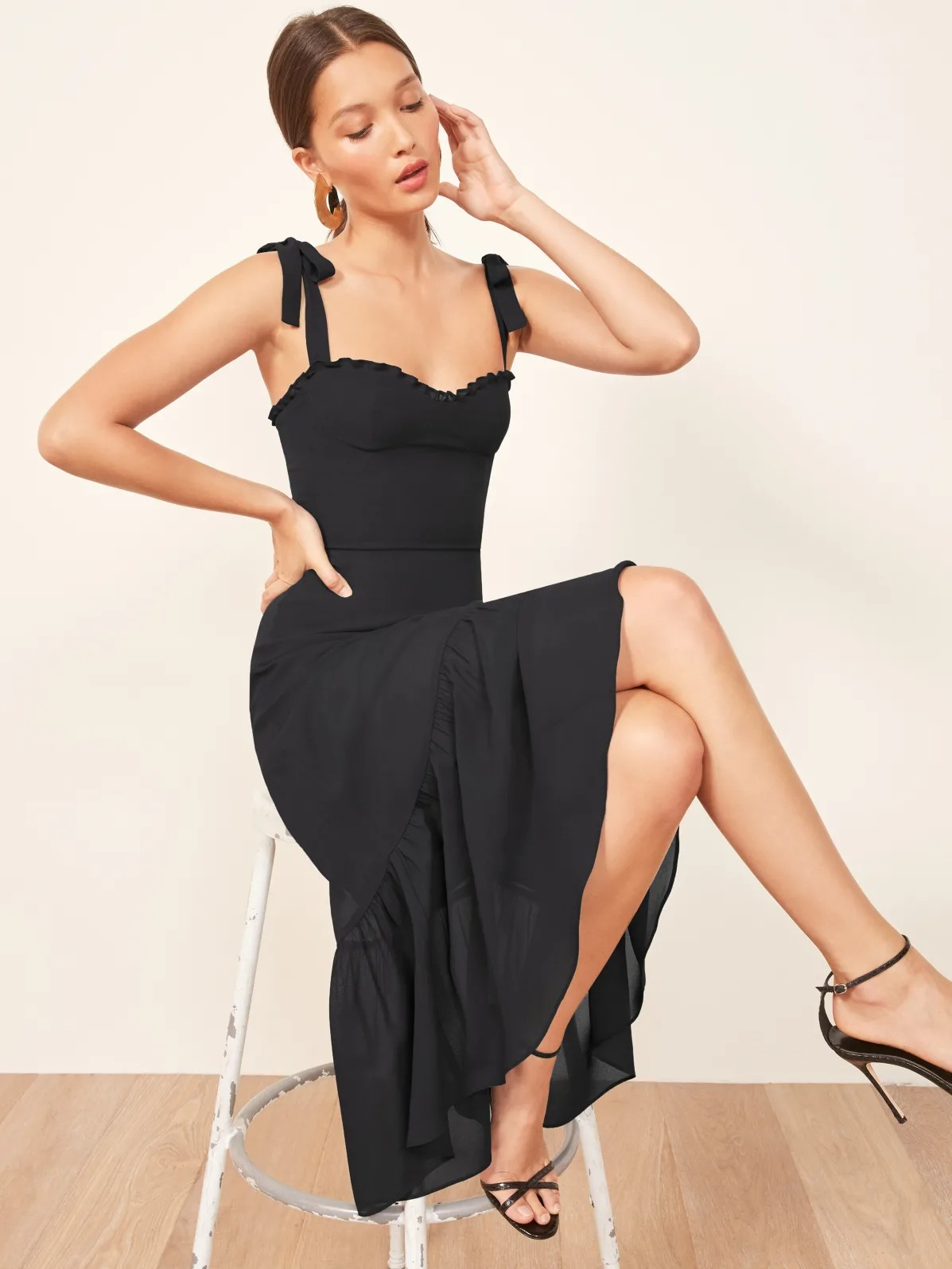 fitted bodice short black wedding dresses from the Reformation