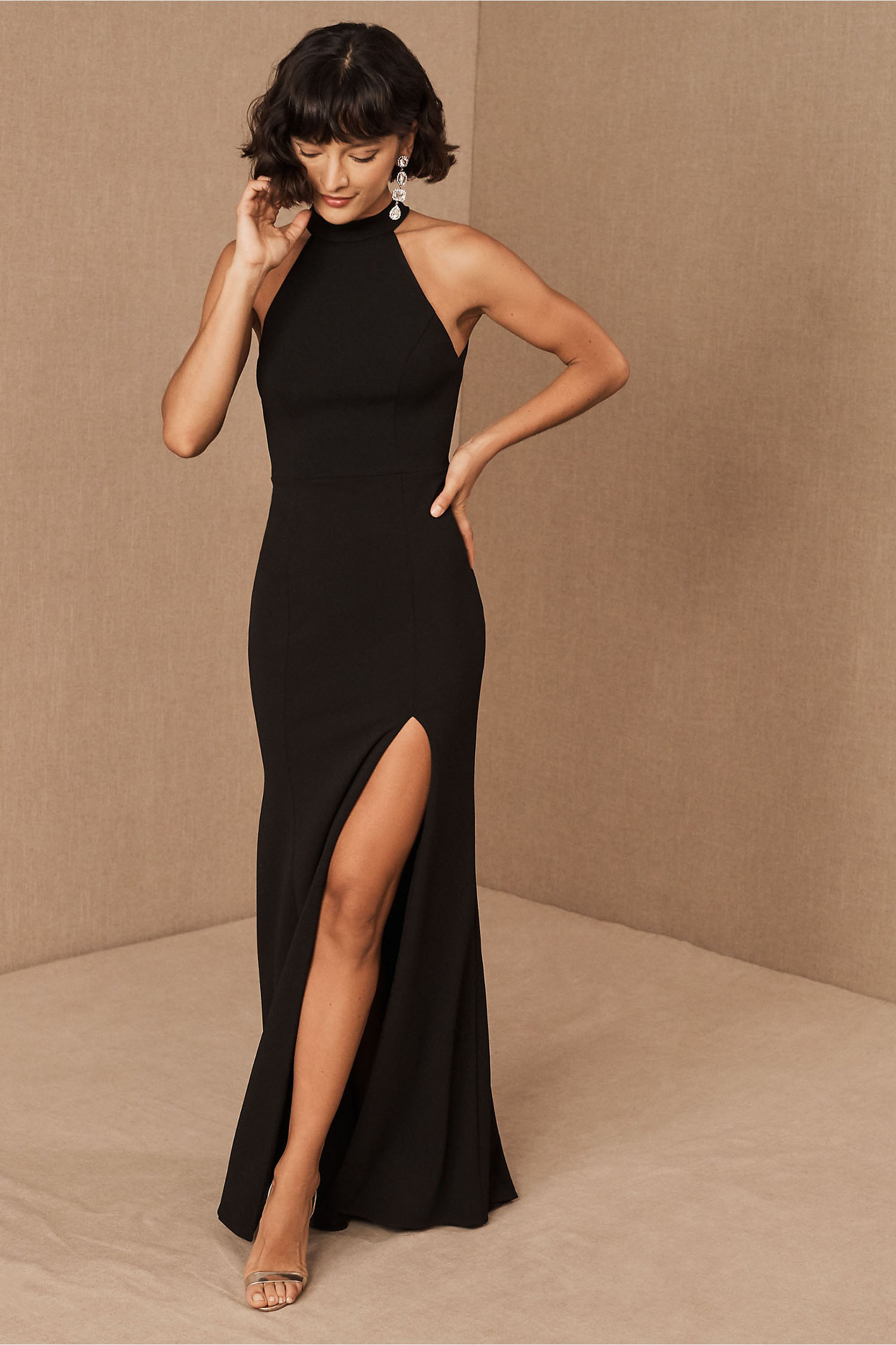 fitted high neck black mermaid wedding dress from BHDLN
