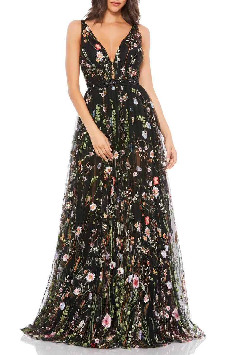 floral black lace tulle gown from Nordstrom