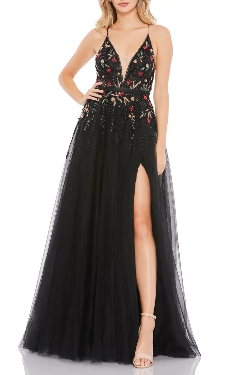 floral black lace and tulle gown from Nordstrom