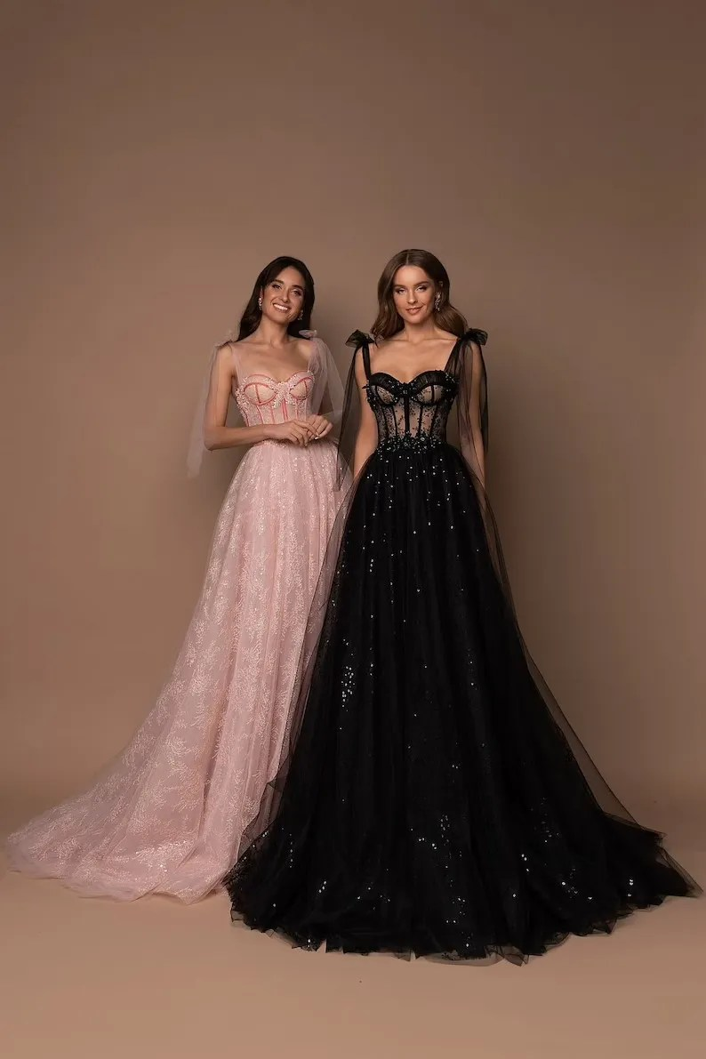 glimmering sequined whimsical corset black wedding dresses