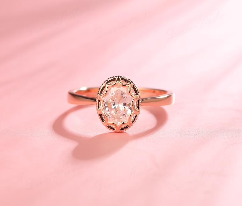 moissanite unique bezel set engagement ring