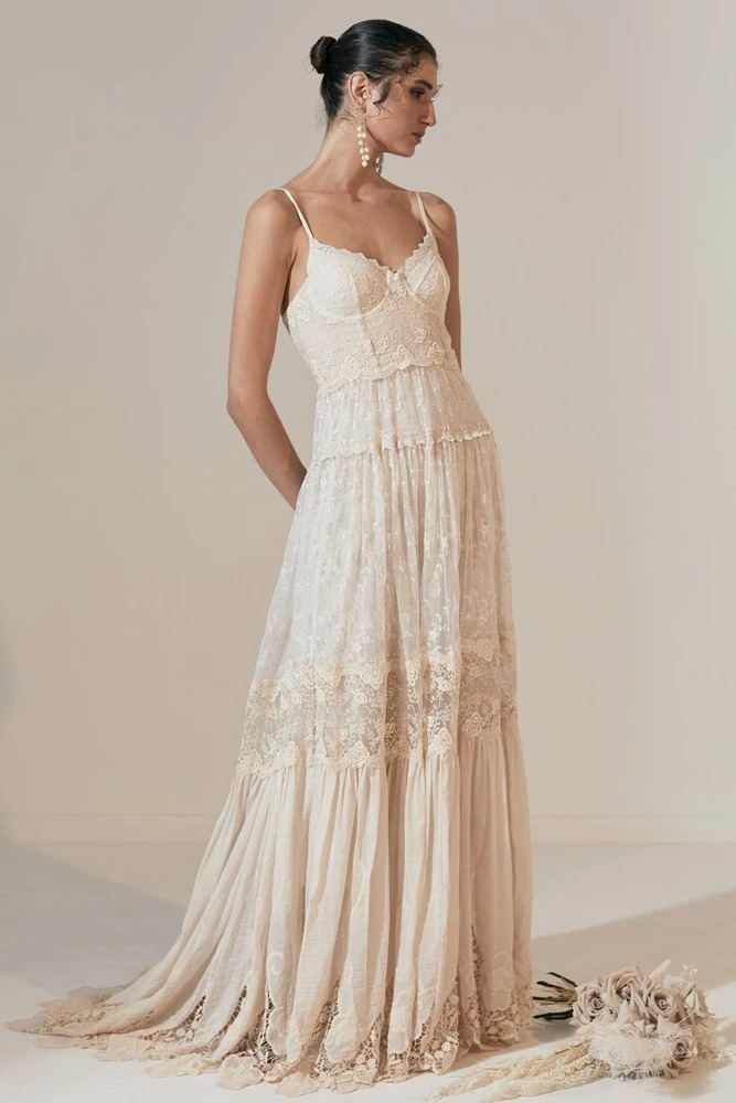 lace bohemian wedding dresses online from Spell