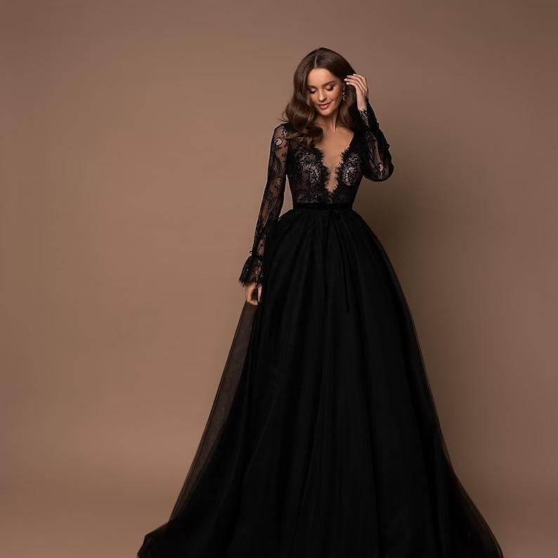 long sleeve plunge neck black ballgown wedding dress