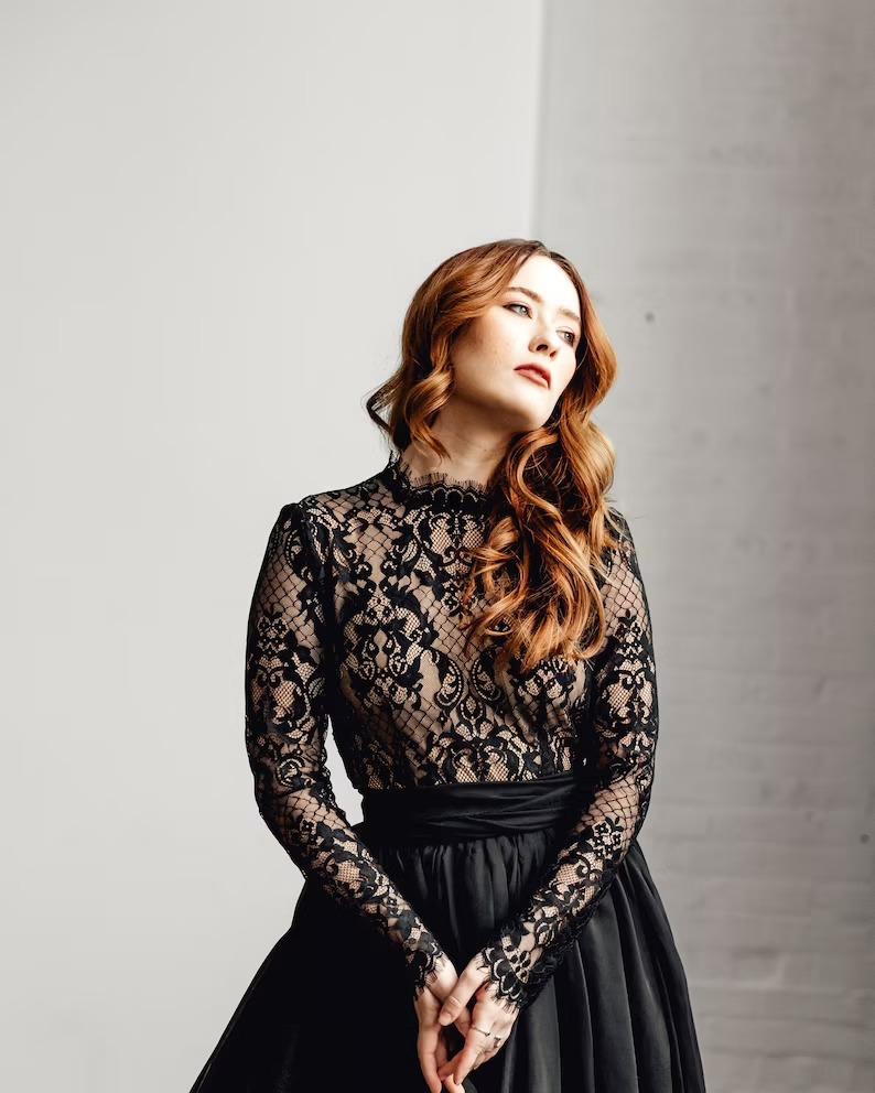 long sleeve lace black wedding dresses from Sweet Caroline styless