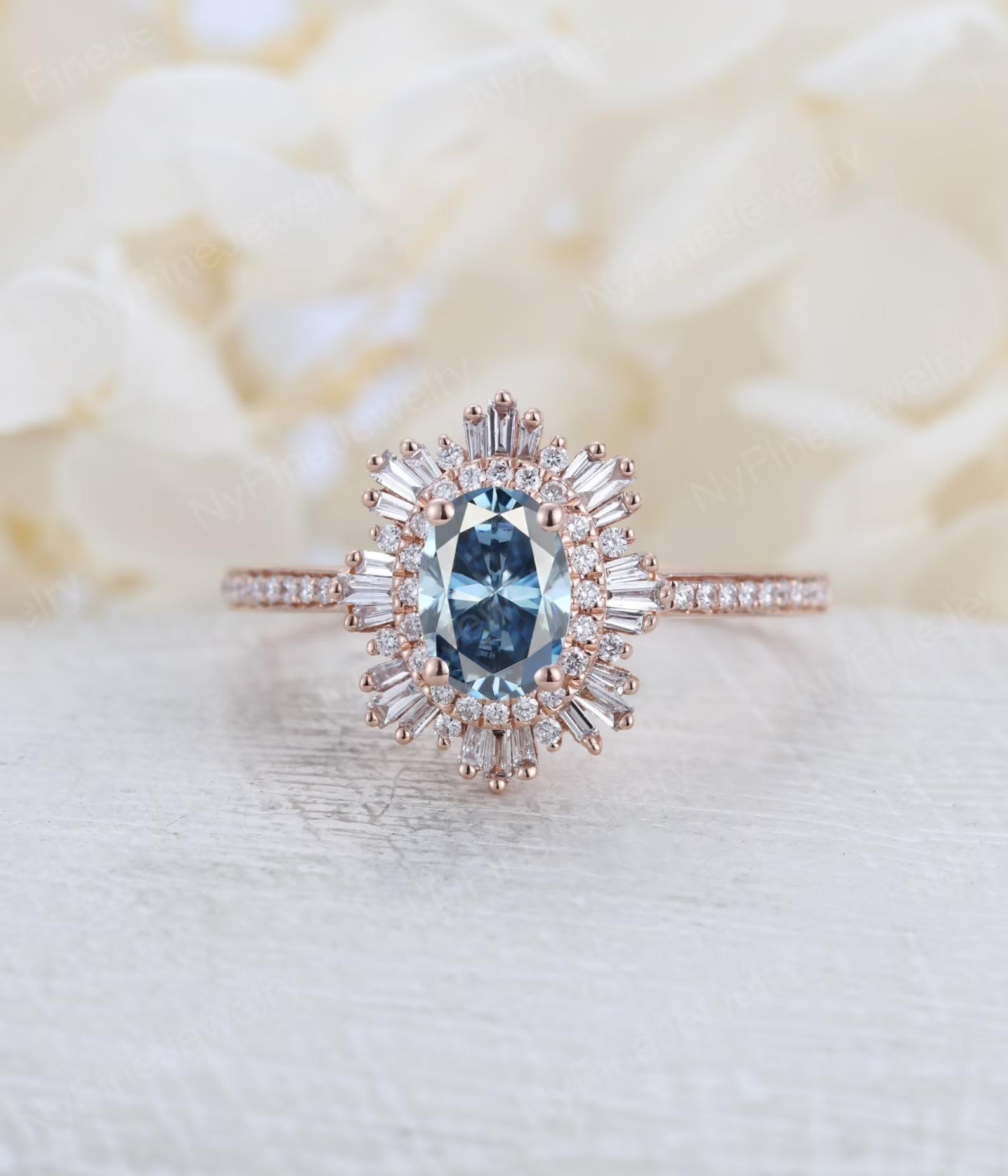 moissanite vs diamond blue gray sunburst art deco style ring