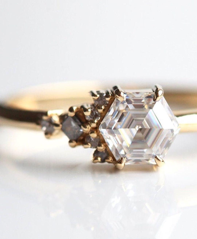 elegant hexagon ring - moissanite vs diamond