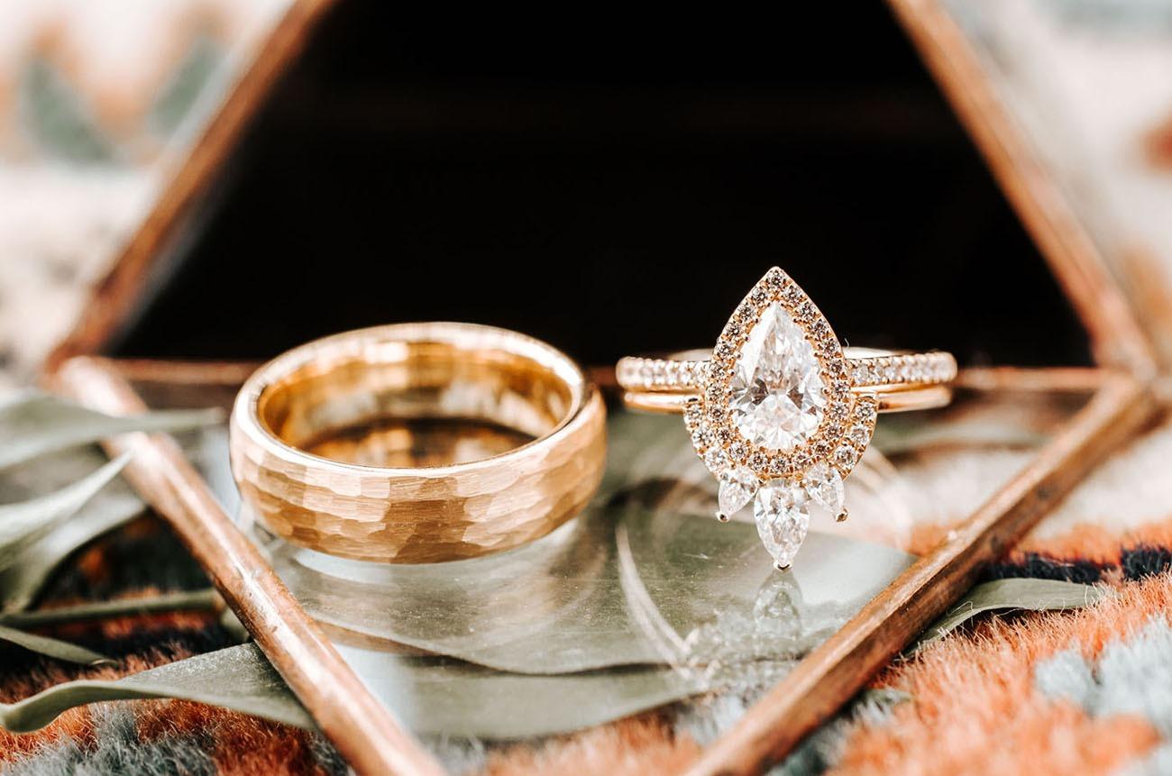 diamond pear shaped art deco ring stack