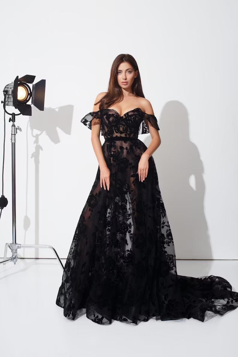 off shoulder lace corset black gown with black floral details