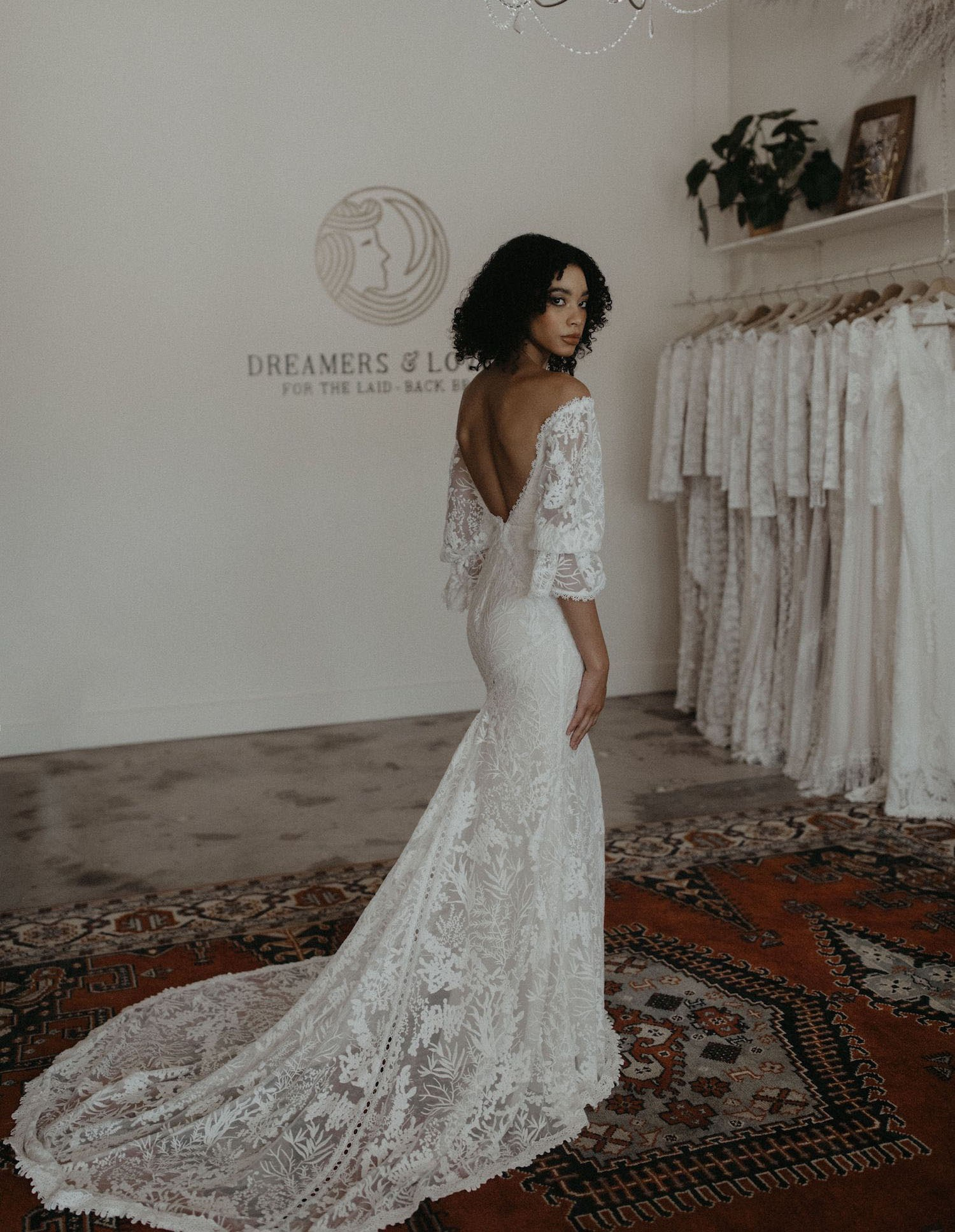 off shoulder lace wedding dress online from Dreamers and Lovers