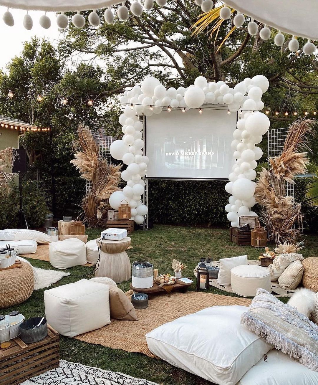 outdoor movie night engagement party