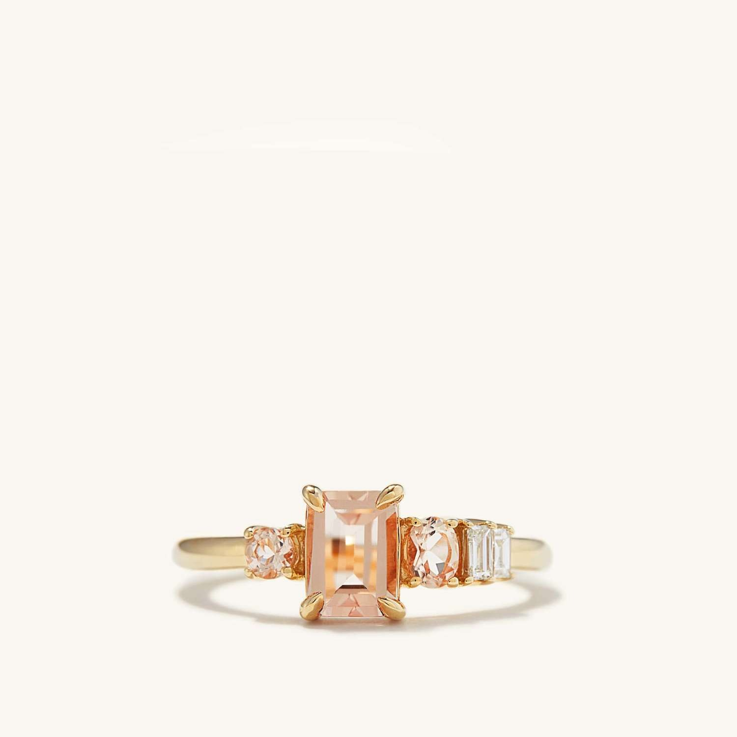 peach morganite engagement ring with gold band