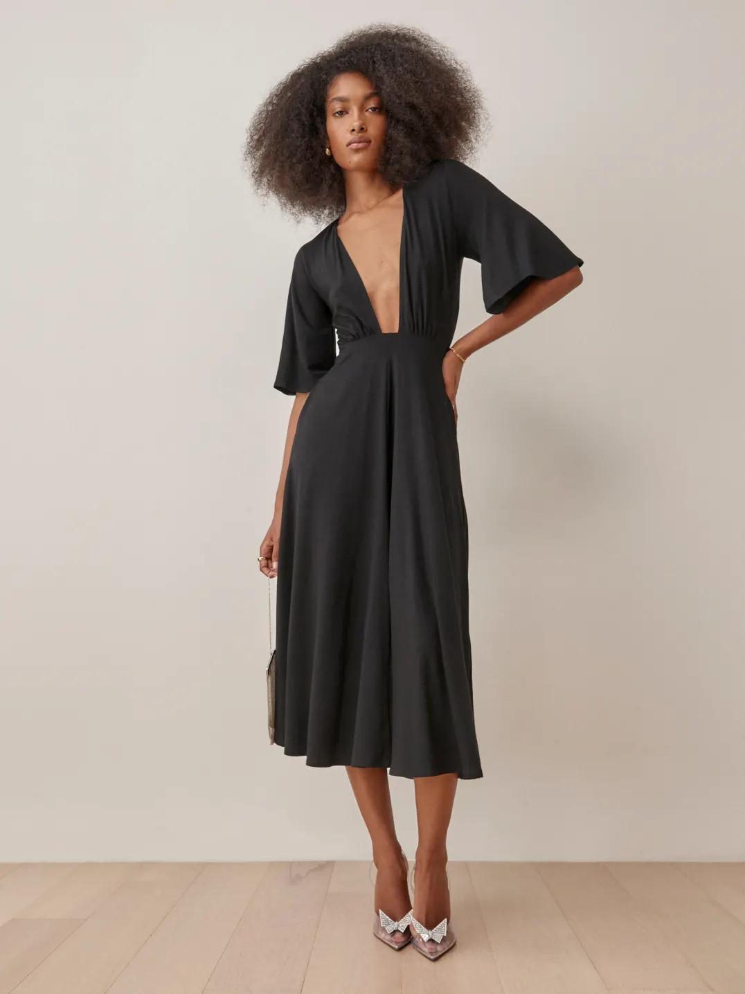 short sleeved plunging neckline short black wedding dress from the Reformation