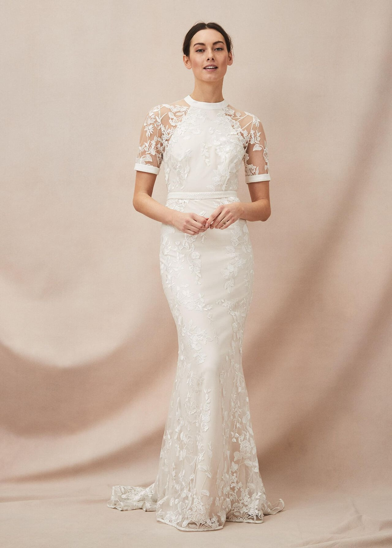 poppy embroidered online wedding dress with fitted skirt and short sheer sleeves