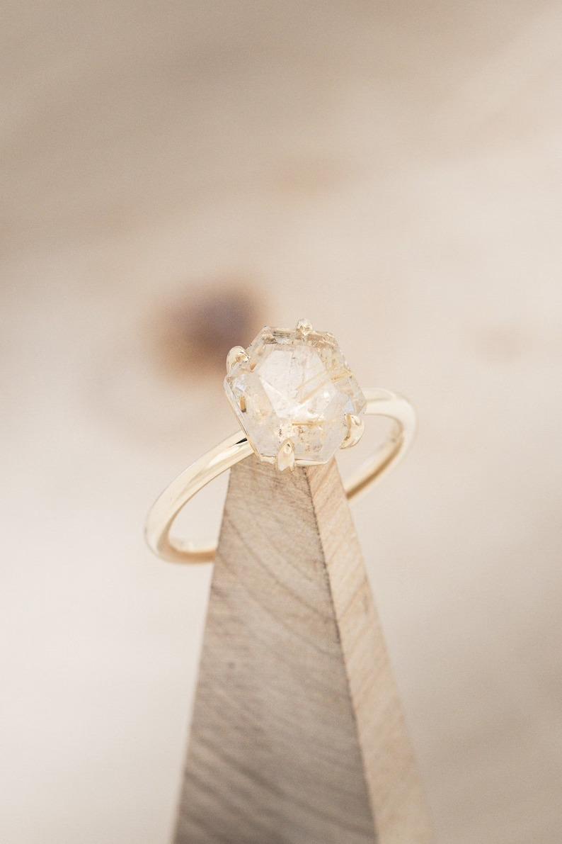 hexagon quartz solitaire engagement ring