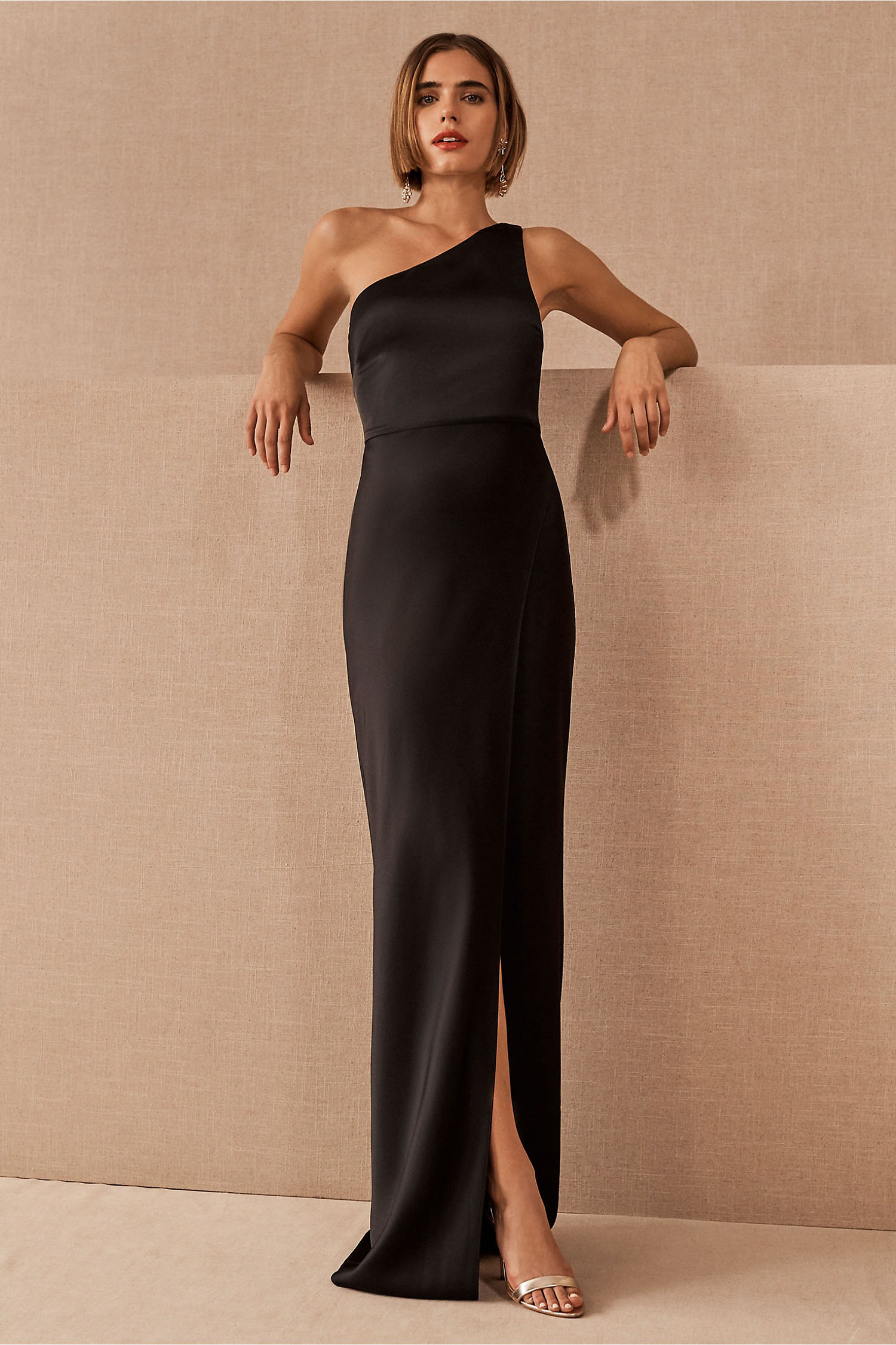 satin one shoulder sleek black gown from BHLDN