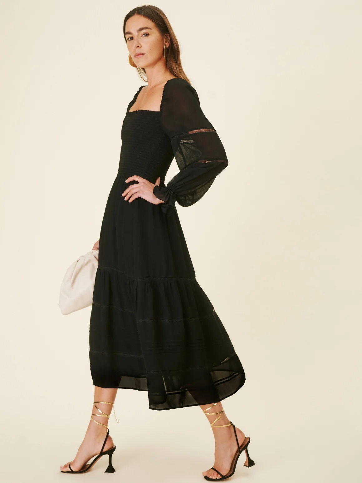 short black wedding dress with long puff sleeves from the Reformation