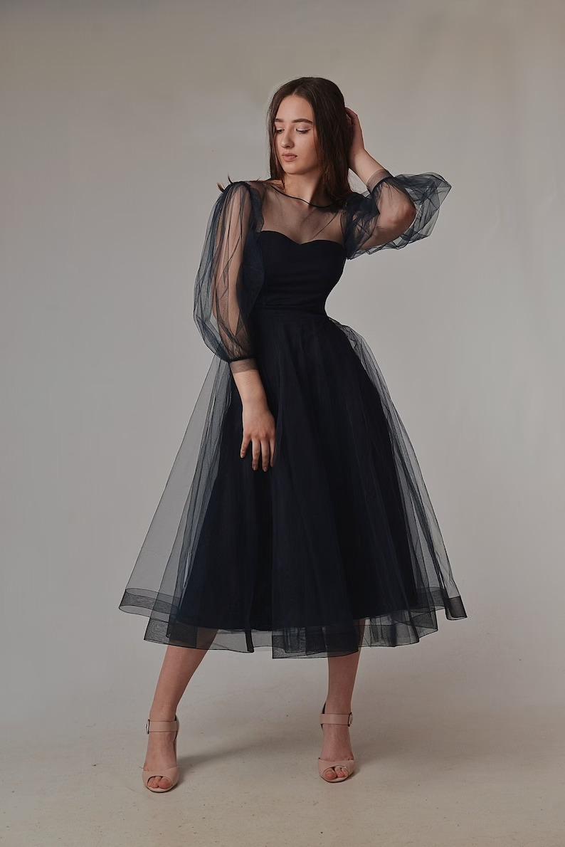 short black wedding dress with sheer tulle sleeves