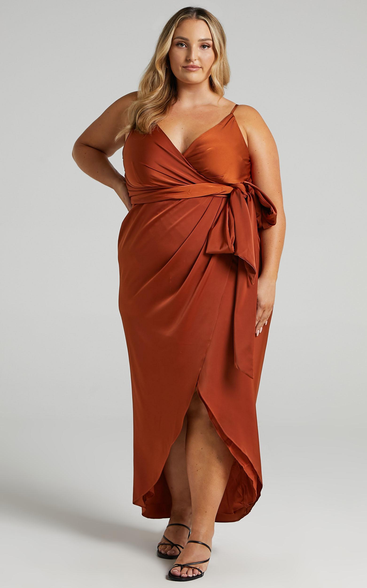copper silk plus size bridesmaid dress