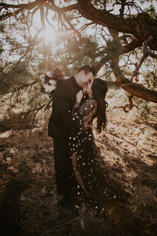 starry tulle black wedding dress from Flutter on Etsy