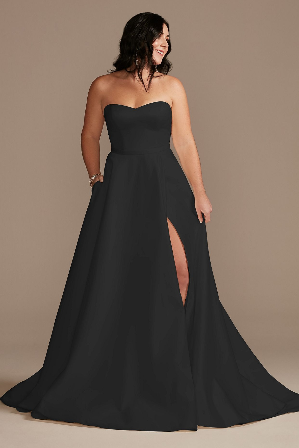 satin strapless black ballgown with pockets from Davids Bridal