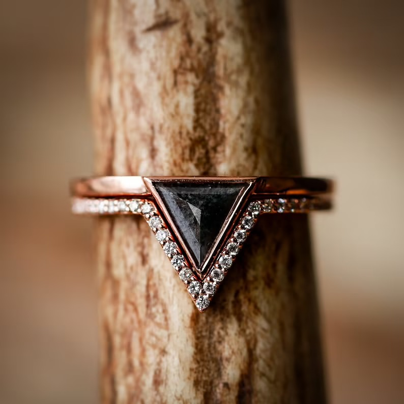 stackable black triangle engagement rings