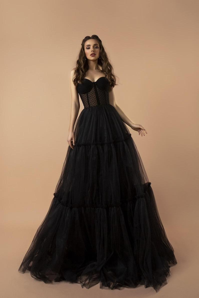 tulle skirted corset black wedding dress