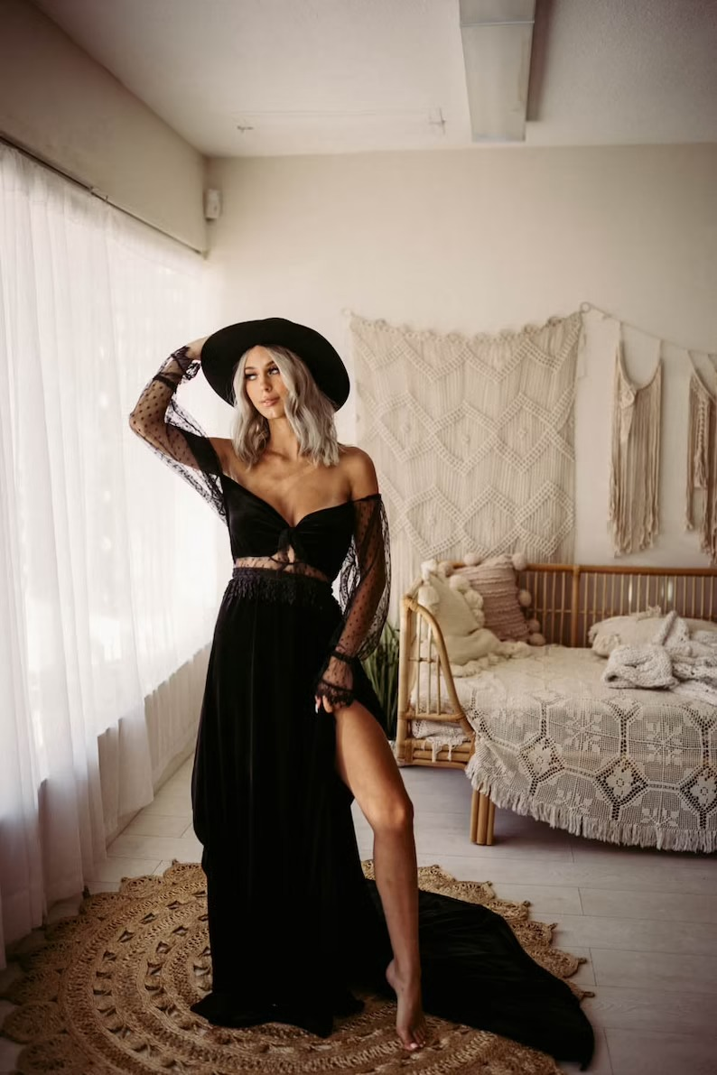 two piece long sleeve lace black wedding dress with a boho style
