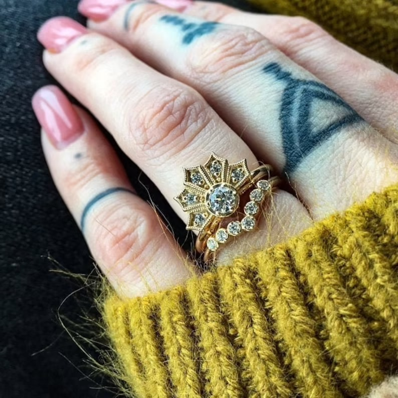 unique art deco modern engagement ring with a vintage look