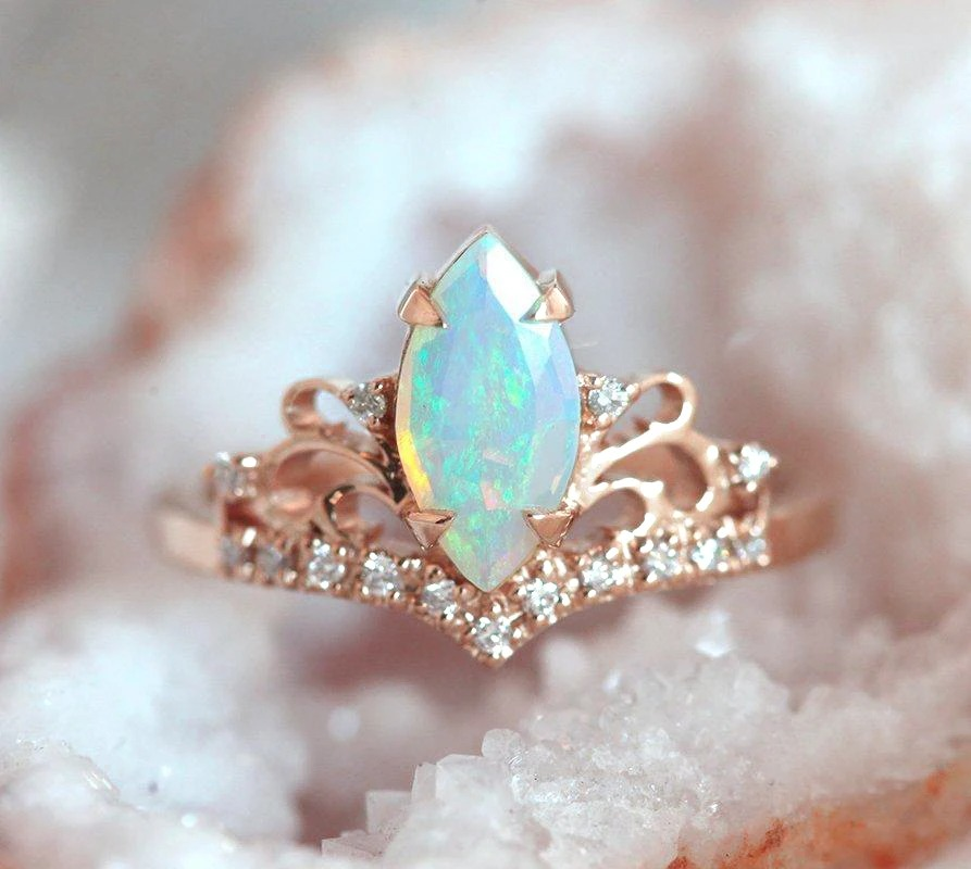 distinct crown shaped marquise opal engagement ring