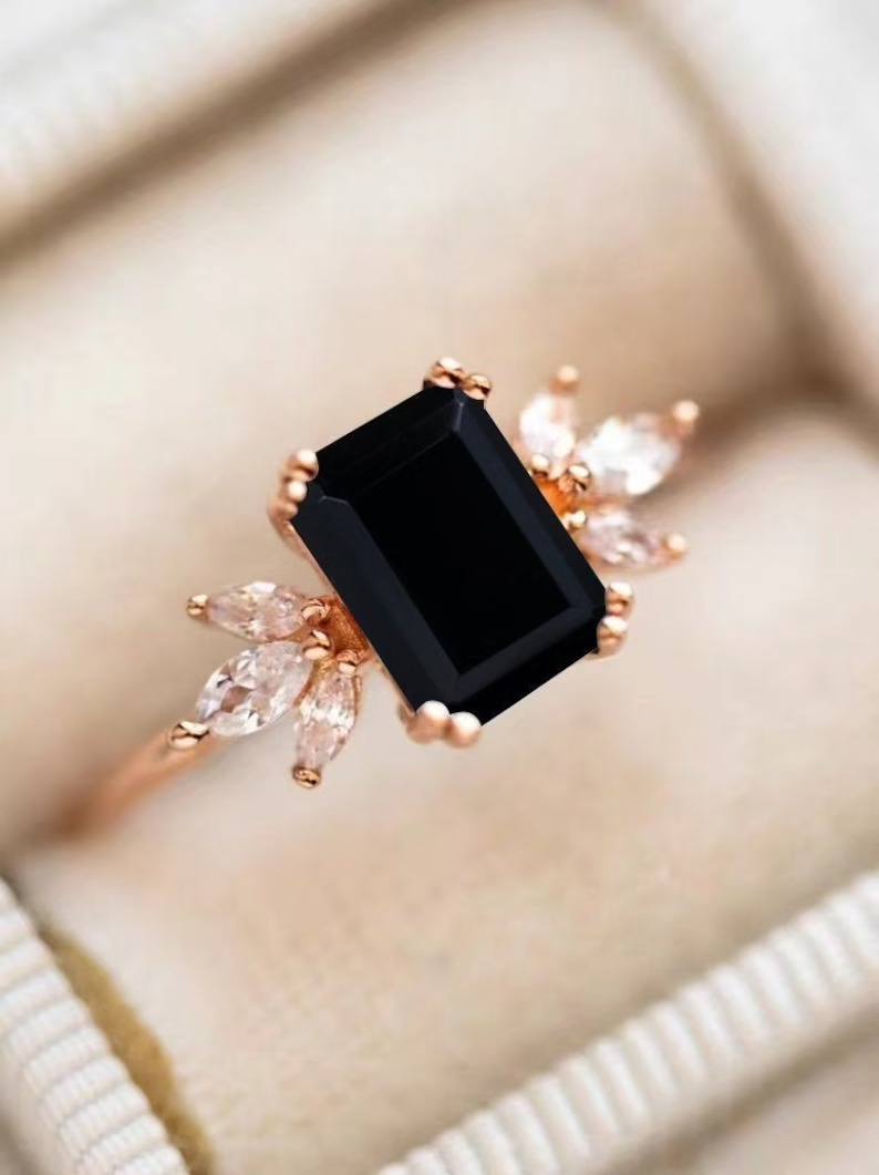 unique emerald cut black onyx engagement ring with marquise cut accent stones