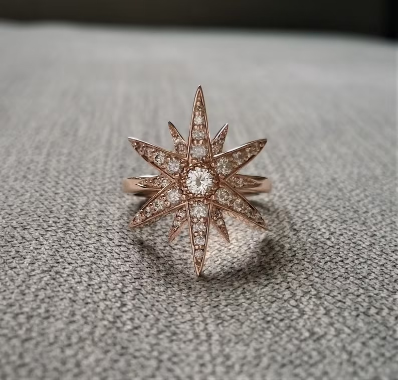 unique rose gold engagement rings with star shape and studded diamonds