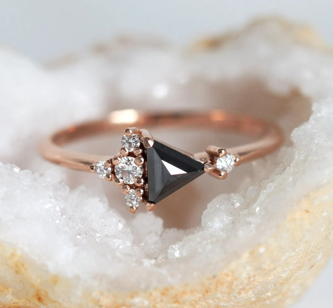 rose gold triangle shaped black diamond cluster ring