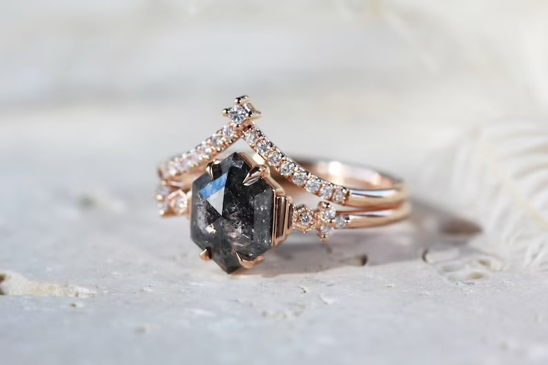 unique stackable salt and pepper diamond engagement ring
