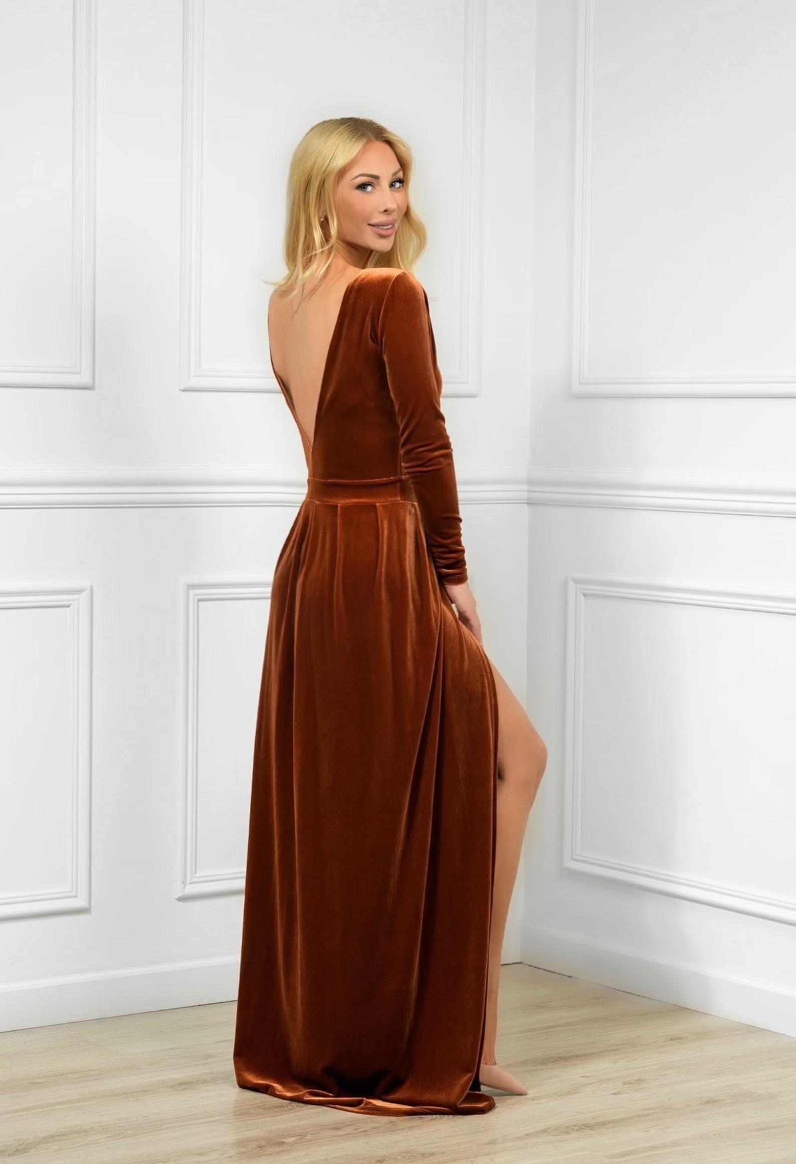 rust velvet long sleeve dress