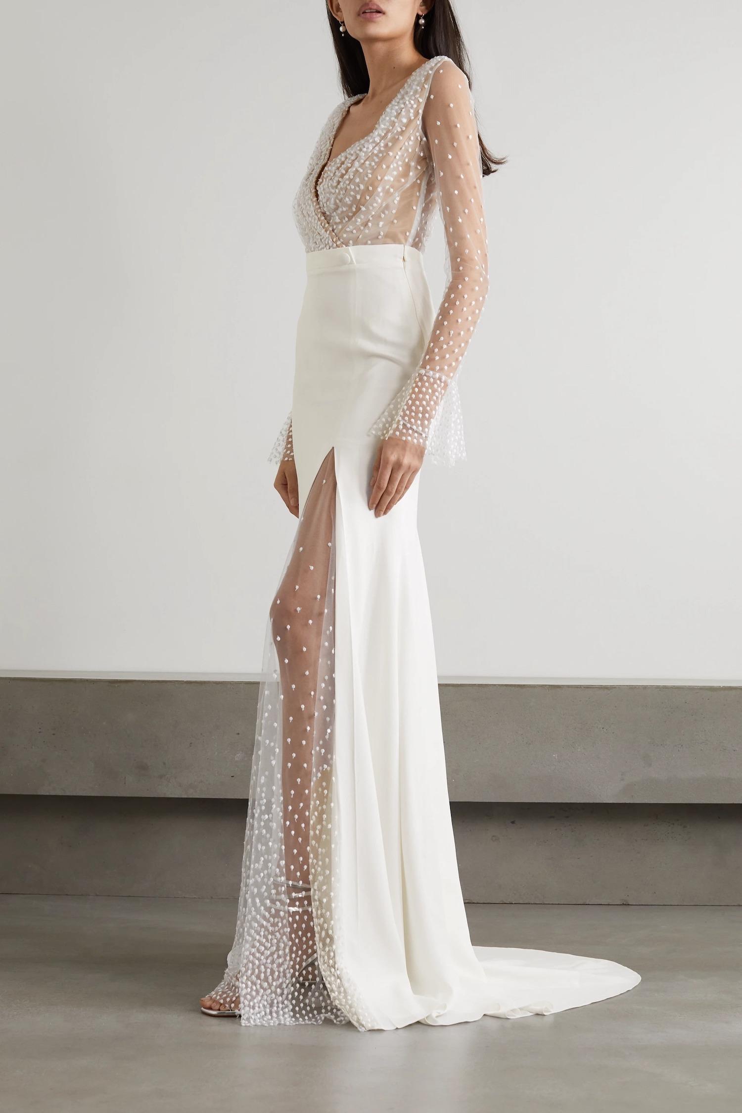 whimsical sheer tulle and crepe designer wedding dresses online by Rime Arodaky on Net-a-Porter
