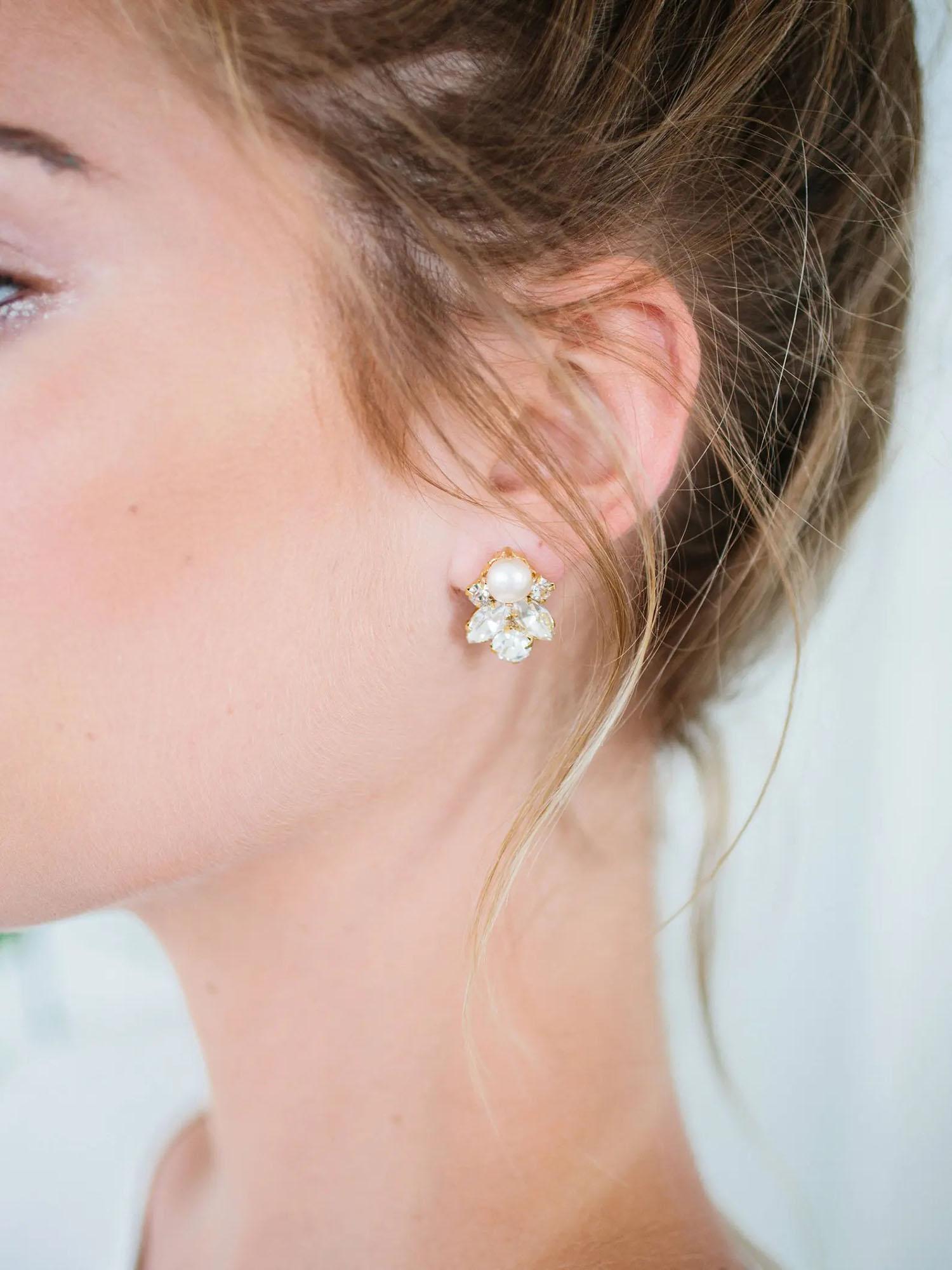 Art Deco statement crystal and pearl wedding stud earrings