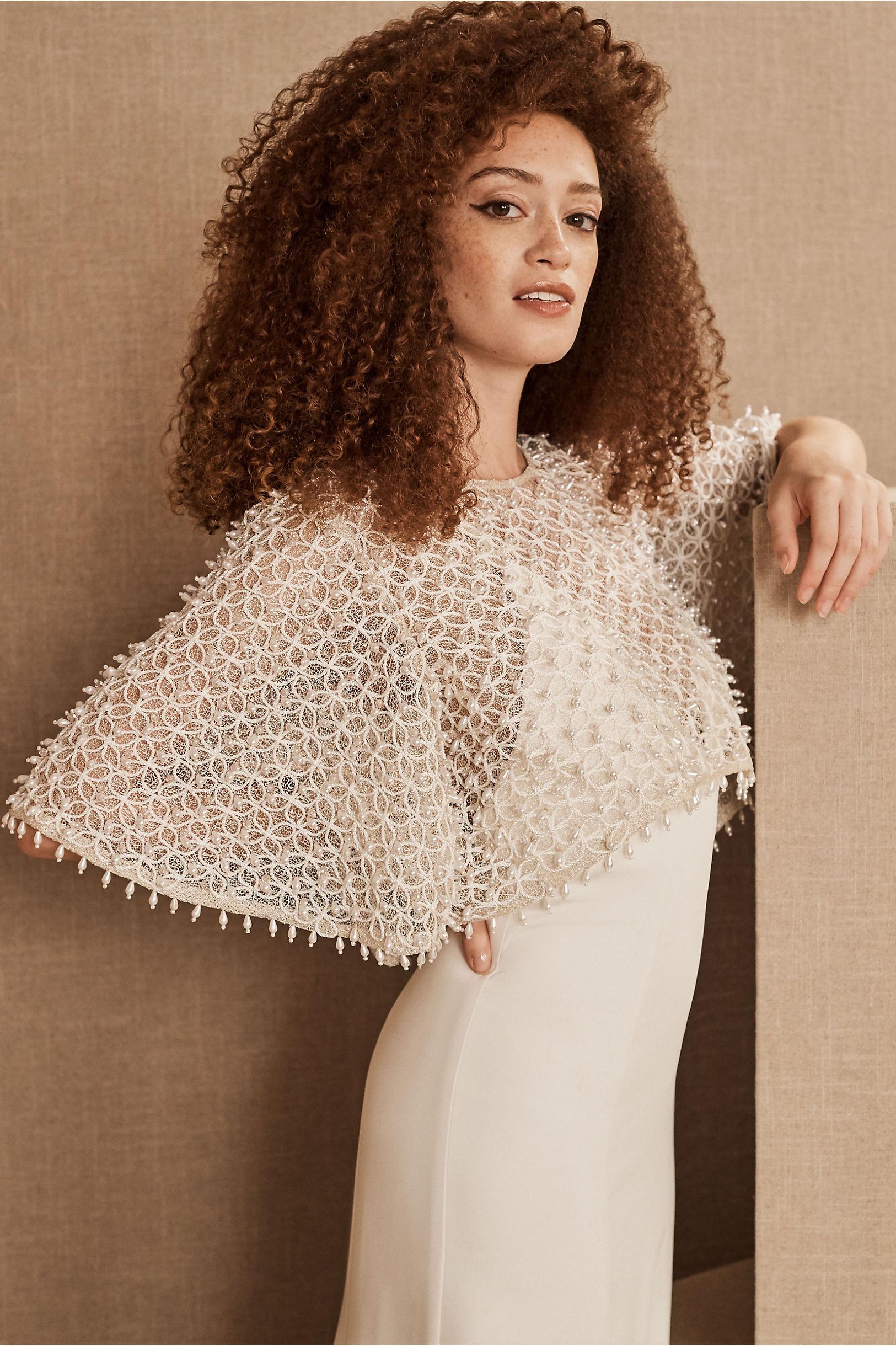 BHLDN Glynn Wedding Dress Topper with Pearls