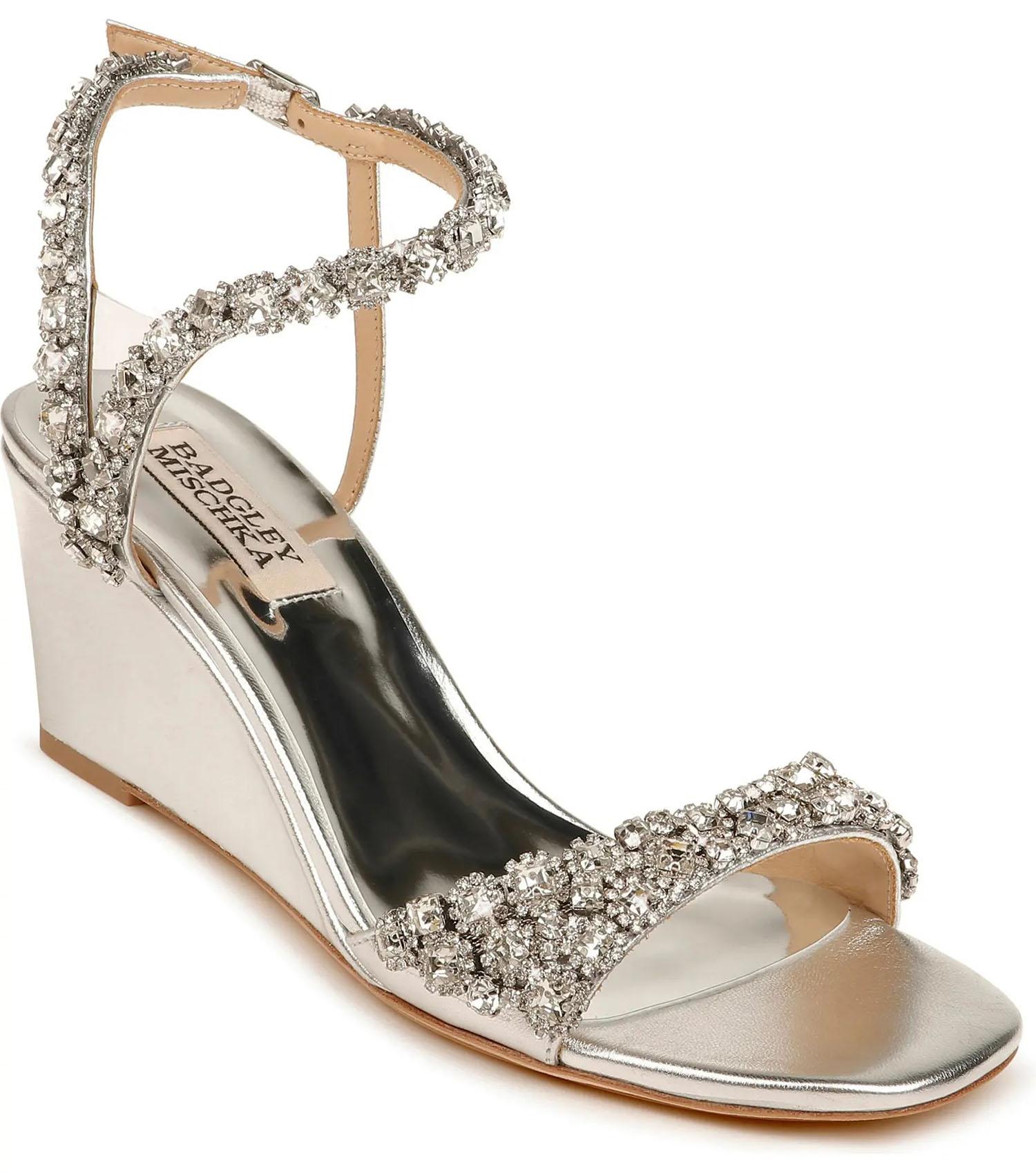 Badgley Mischka crystal embellished wedge heel at Nordstrom Rack