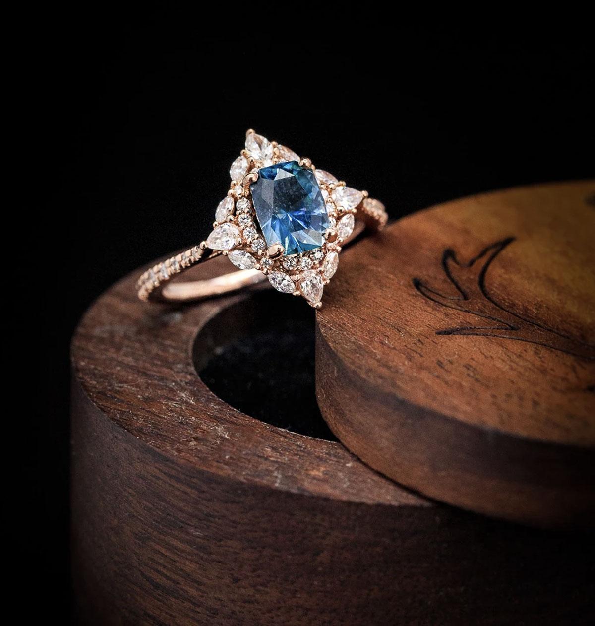 Montana Sapphire Engagement ring with diamond halo