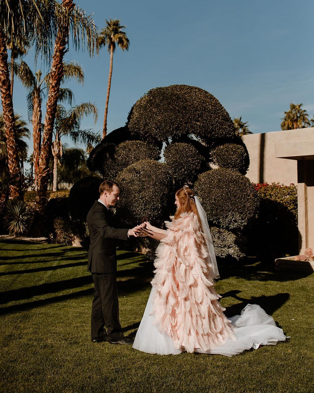 Pink Ostrich Plume Feather Wedding Cape