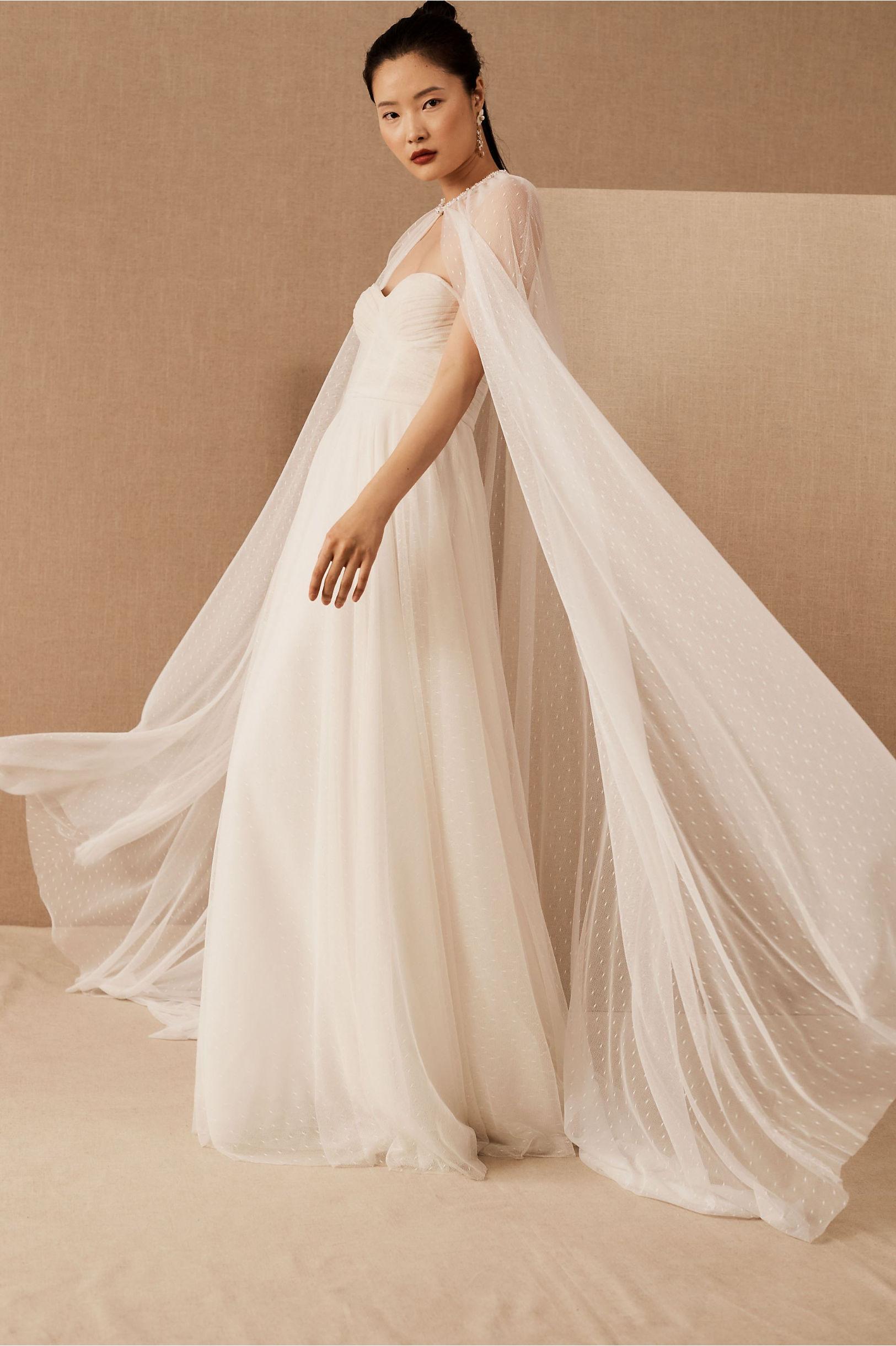 Swiss dot tulle long bridal cape Jenny Yoo