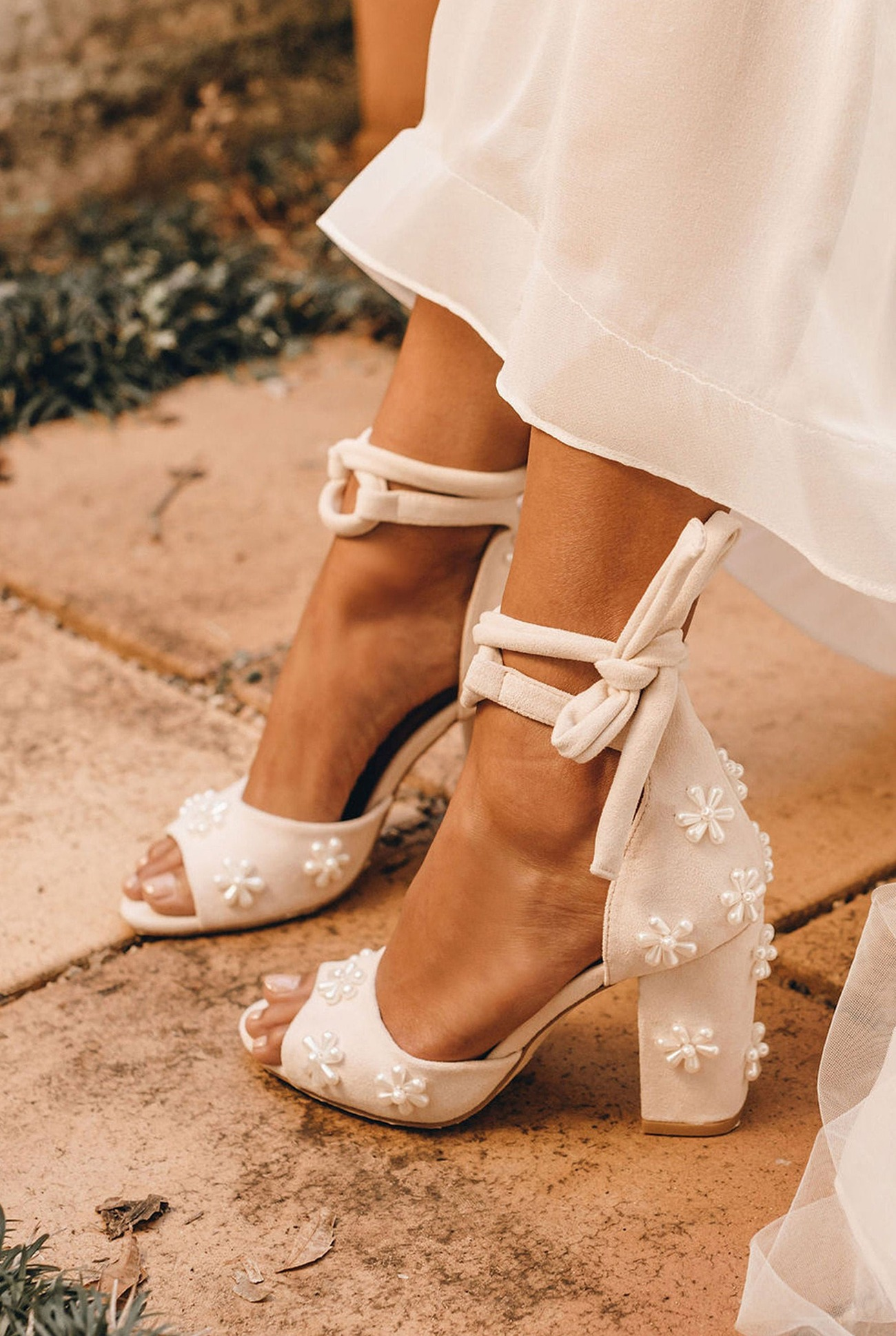 beaded floral Forever Soles wedding heel shoes