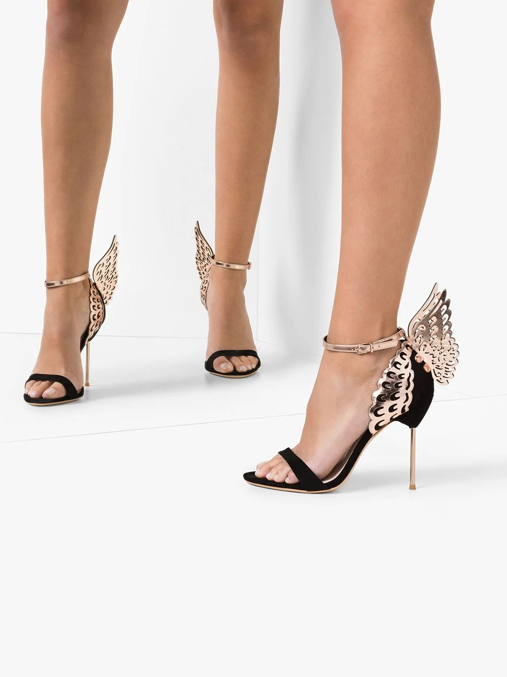 black and gold stiletto butterfly sandal Sophia Webster wedding shoes