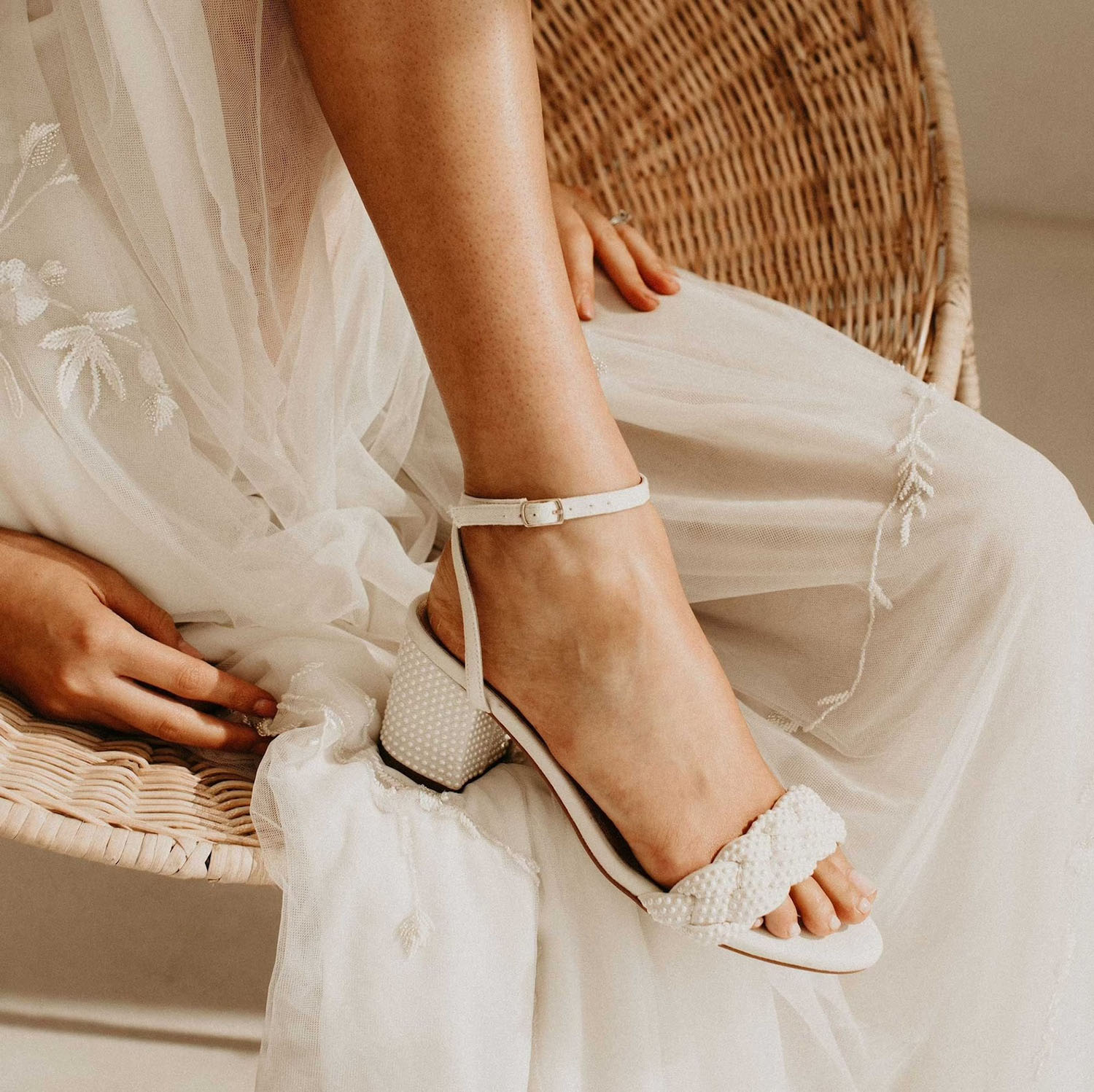 braided strap pearl wedding heels from Forever Soles