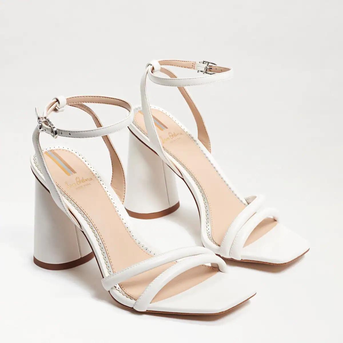 chunky block white sandal heel Sam Edelman wedding shoes