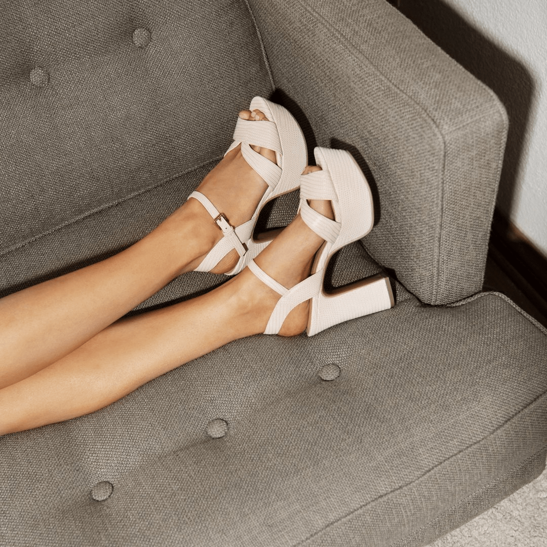 chunky off-white Chinese Laundry wedding shoes heels