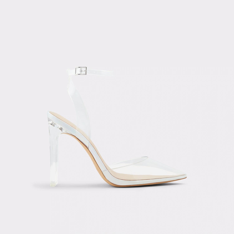 clear Cinderella style pointed toe clear acrylic heels ALDO wedding shoes