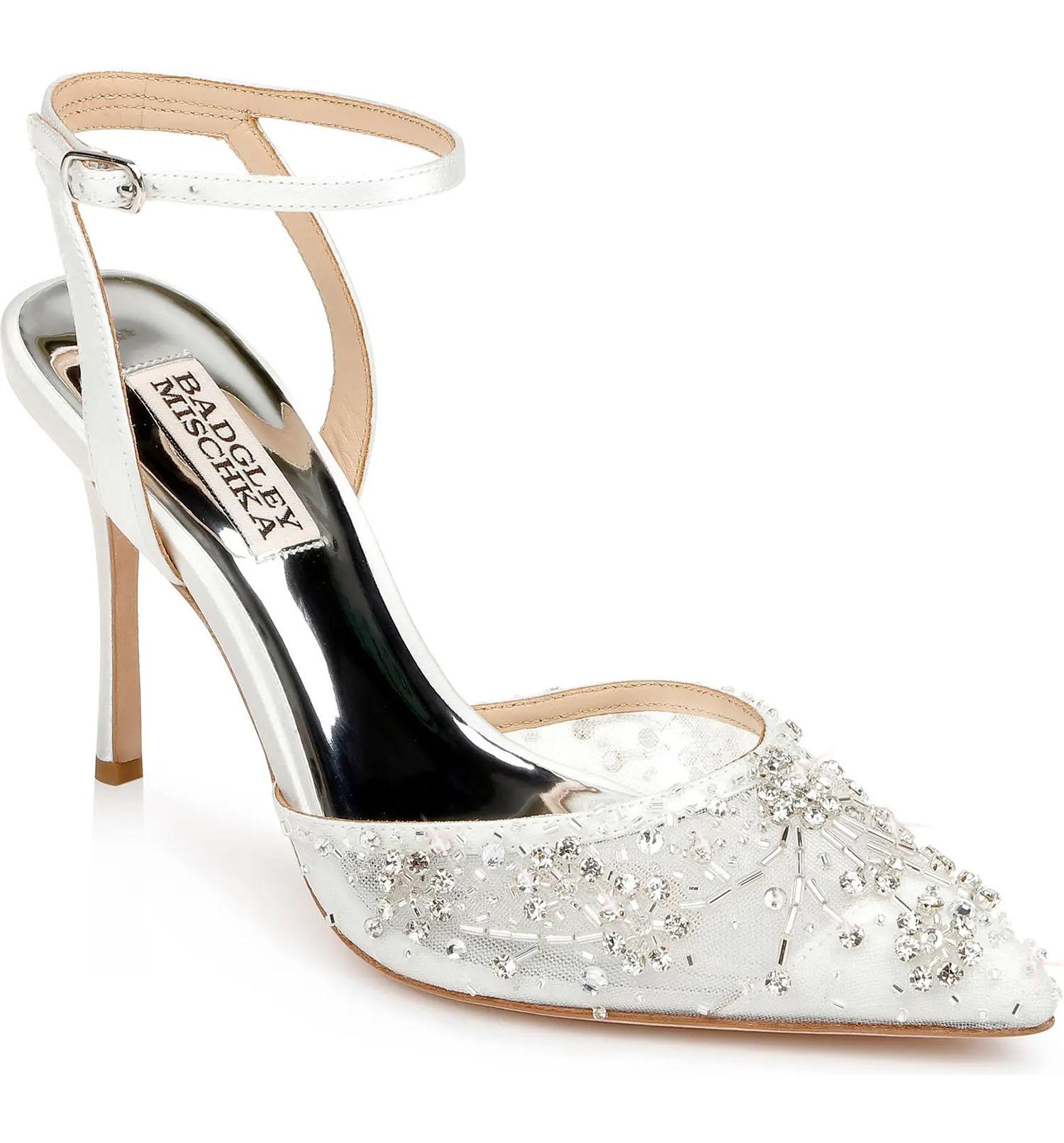 crystal beaded white pointed toe heel Badgley Mischka wedding shoes