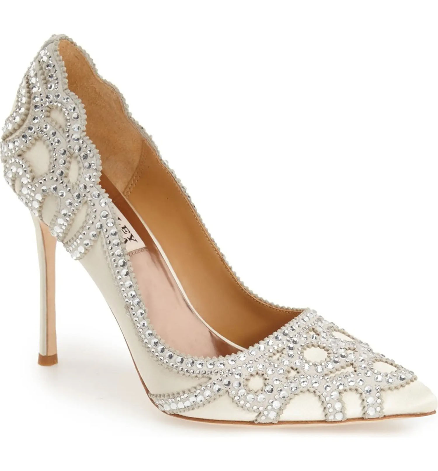 crystal dotted Badgley Mischka scalloped heel wedding shoes at Nordstrom